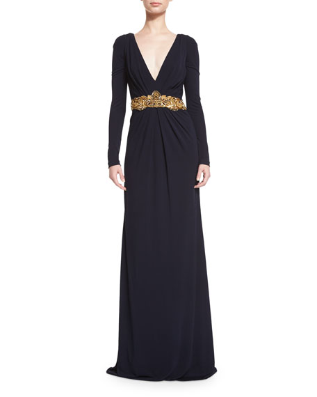 Badgley Mischka Long-Sleeve V-Neck Embellished-Waist Gown, Navy