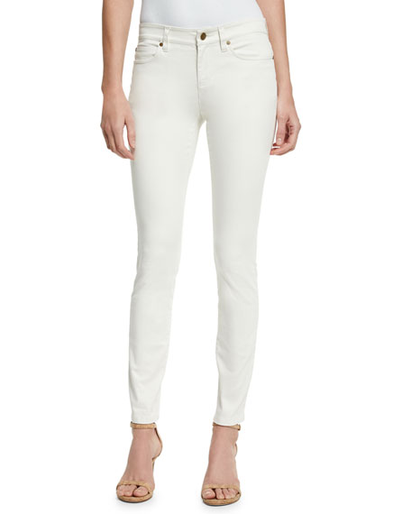 Eileen Fisher Sueded Organic-Stretch Sateen Jeans, Bone, Plus