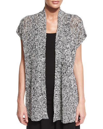 Short-Sleeve Melange Linen Grain Twist Cardigan, Black