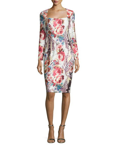 Jovani Long-Sleeve Square-Neck Cocktail Dress, Multi Colors