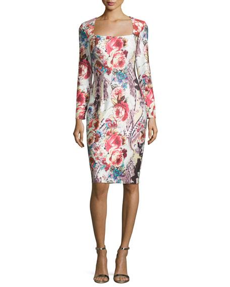 Long-Sleeve Square-Neck Cocktail Dress, Multi Colors