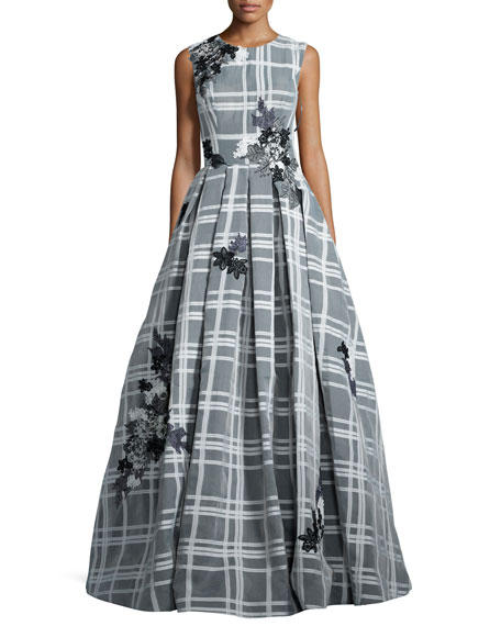 Jovani Sleeveless Embroidered Check Ball Gown, White/Black