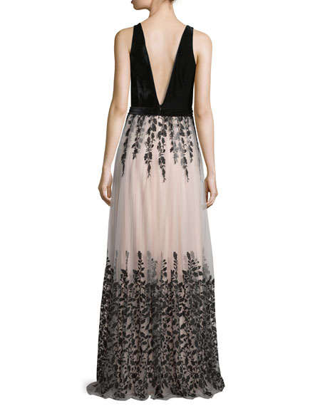 Sleeveless Floral-Embroidered Combo Gown, Nude/Black