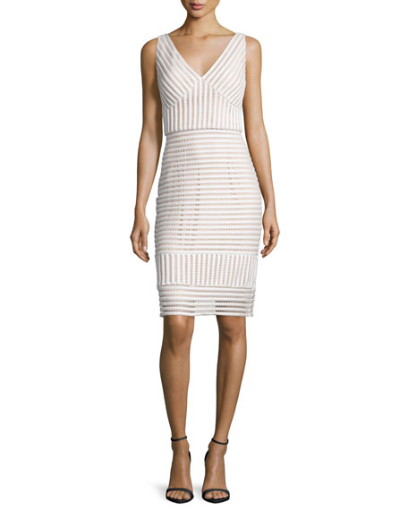 Jovani V-Neck Striped Sheath Dress, Ivory/Nude