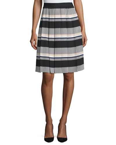 striped pleated a-line skirt, black