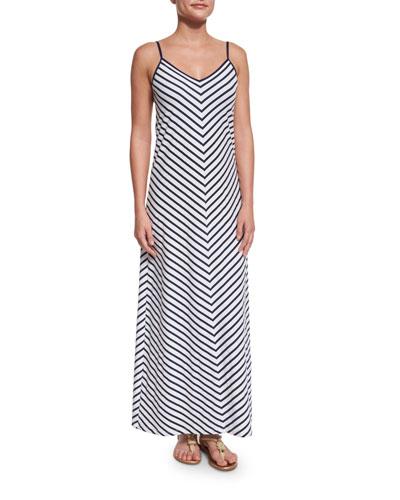 Mare Mitered-Stripe Long Maxi Dress, Mare/White