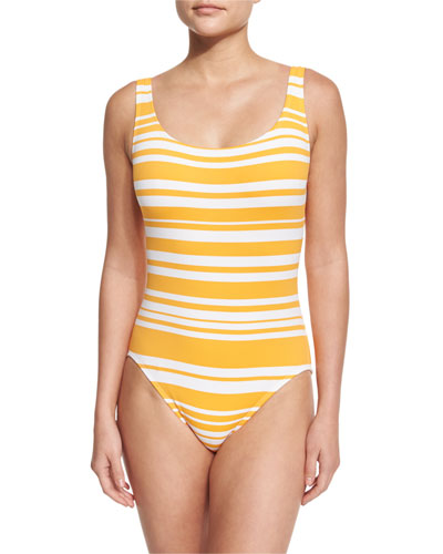 Lace-Up Back Striped One-Piece Swimsuit