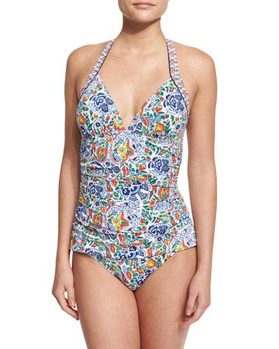 Provincial Halter Floral-Print One-Piece Swimsuit