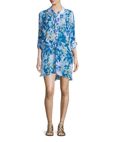 Floral-Print Mandarin-Collar Tunic Coverup