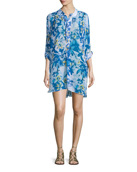 Tommy BahamaFloral-Print Mandarin-Collar Tunic Coverup