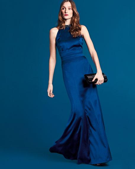 Embellished Halter-Neck Mermaid Gown, Sapphire