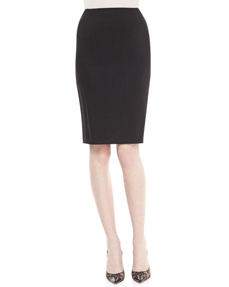 Neiman Marcus Crepe Pencil Skirt, Black