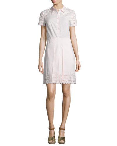 Emmy Embroidered Eyelet Shirtdress, Pink Ice