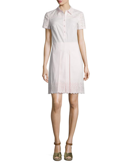 Tory Burch Emmy Embroidered Eyelet Shirtdress, Pink Ice