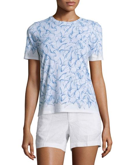 Tory Burch Short-Sleeve Floral-Print Tee, White Ellora