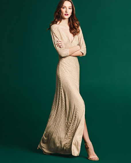 3/4-Sleeve Embellished A-Line Gown, Light Gold