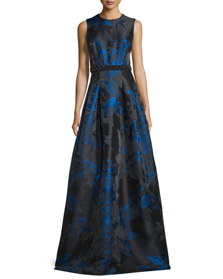 Carmen Marc Valvo Sleeveless Pleated Floral Satin Gown,