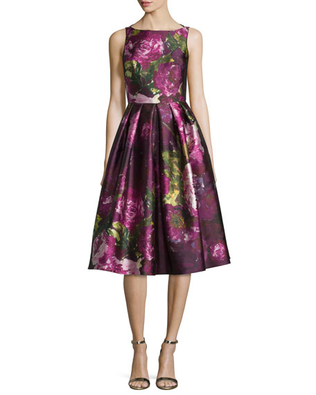 Carmen Marc Valvo Sleeveless Pleated Floral Cocktail Dress,