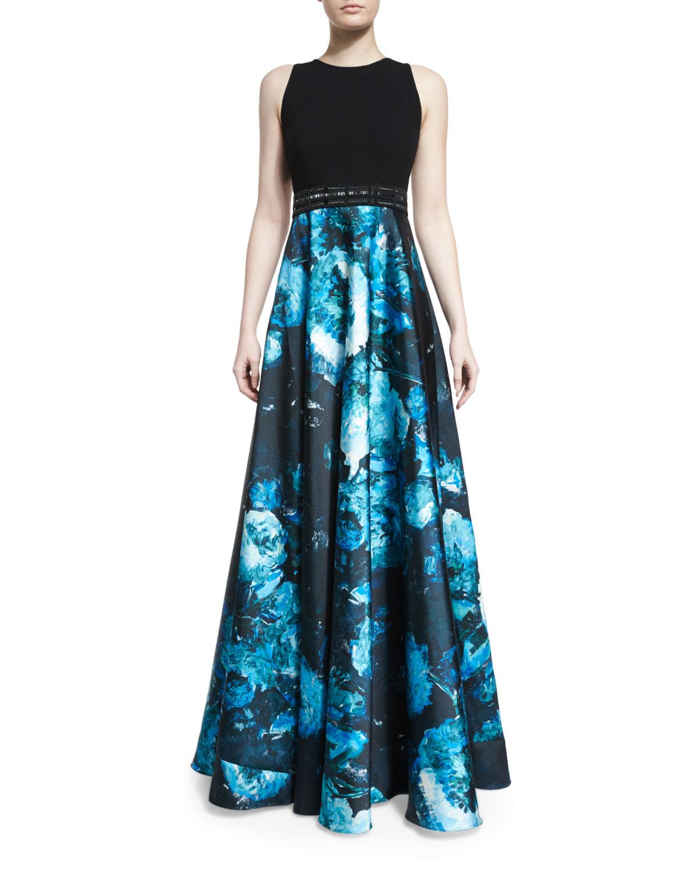 Carmen Marc Valvo Sleeveless Wool & Floral Satin Combo Gown, Black ...