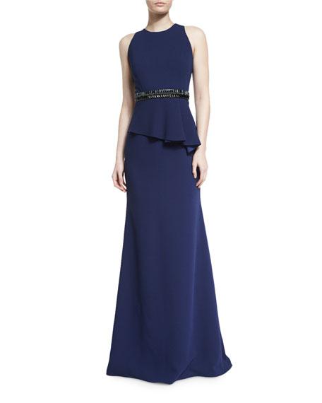 Carmen Marc Valvo Sleeveless Crepe Peplum Gown, Midnight