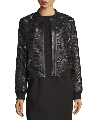 Floral Leather Lace Bomber Jacket, Black/Pink Best Price
