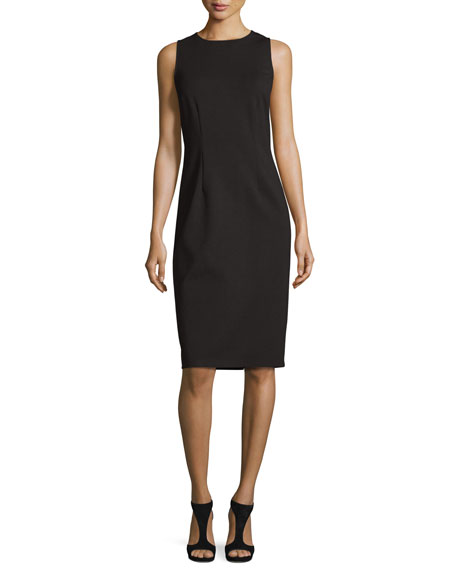 Neiman Marcus Sleeveless Jewel-Neck Ponte Sheath Dress, Black