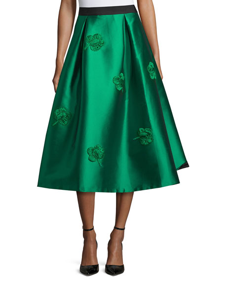 Sachin & Babi Embroidered Midi Ball Skirt, Emerald