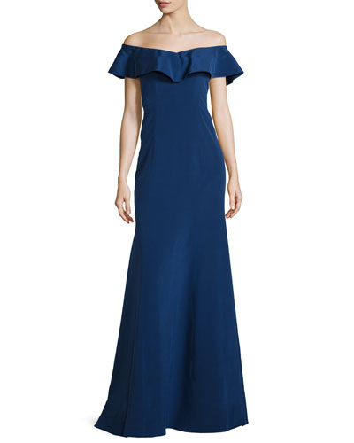Off-the-Shoulder Silk Ruffle Gown, Sapphire