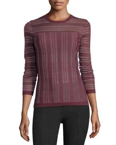 Two-Way Street Sheer Striped Sweater, Plum
