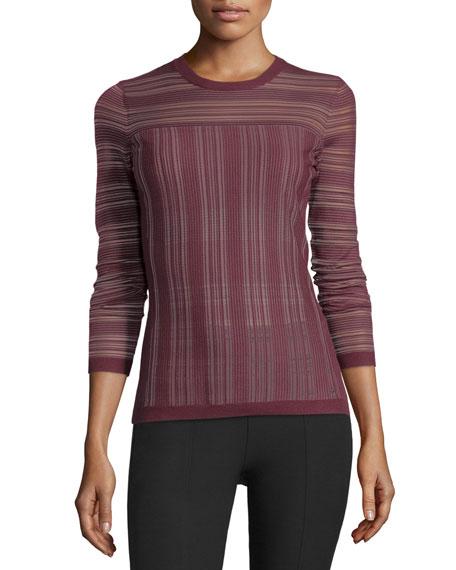 Bailey 44 Two-Way Street Sheer Striped Sweater, Plum