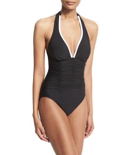 Kara Contrast-Trim Halter One-Piece Swimsuit, Black