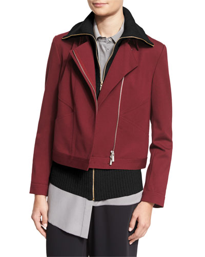 Ponte Moto Jacket w/ Angled Seams, Fig