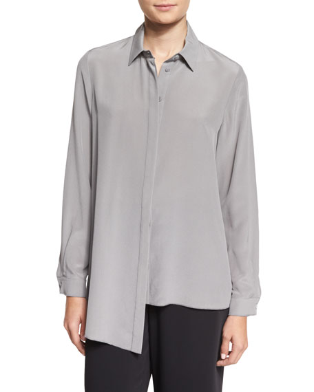 Magaschoni Long-Sleeve Asymmetric-Hem Silk Blouse, Medium Gray