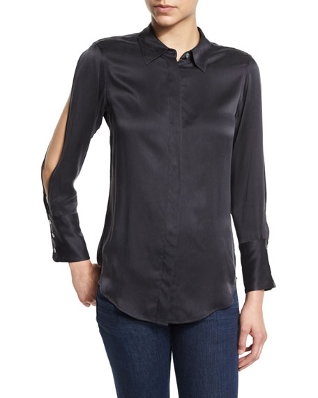 Equipment Jonie Cutout-Sleeve Silk Shirt