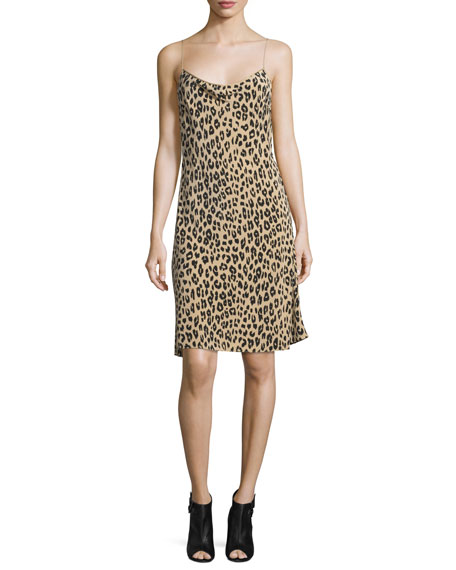 Kate Moss for Equipment Jessa Leopard-Print Bias-Cut Slip