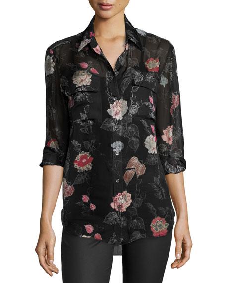 Equipment signature floral print silk shirt true black for Equipment signature silk shirt