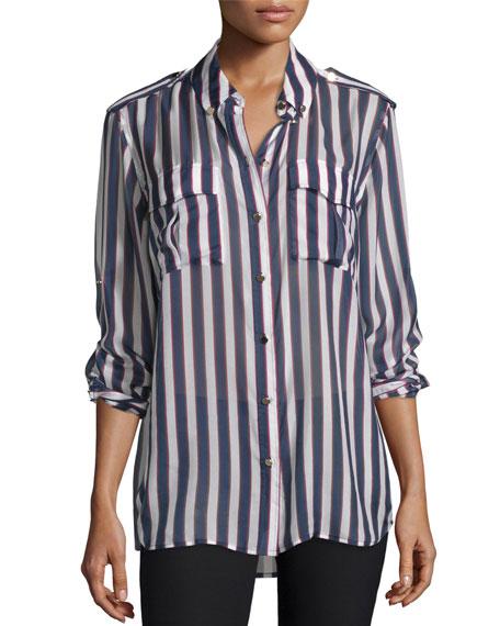 Equipment Major Striped Long-Sleeve Silk Shirt