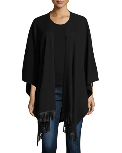 Merino Wool/Cotton Shawl w/ Leather Fringe Trim Buy
