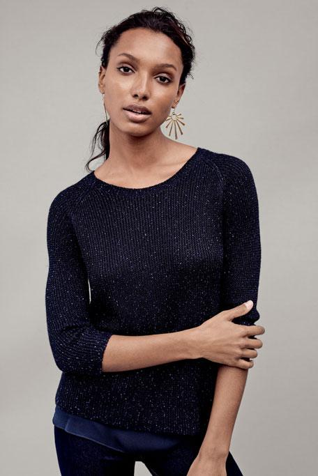 Sequin Sweater w/ Chiffon Trim