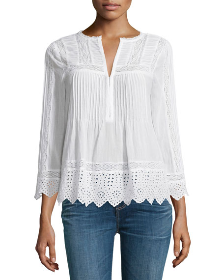 3/4-Sleeve Lace-Trim Voile Top, Sea Salt