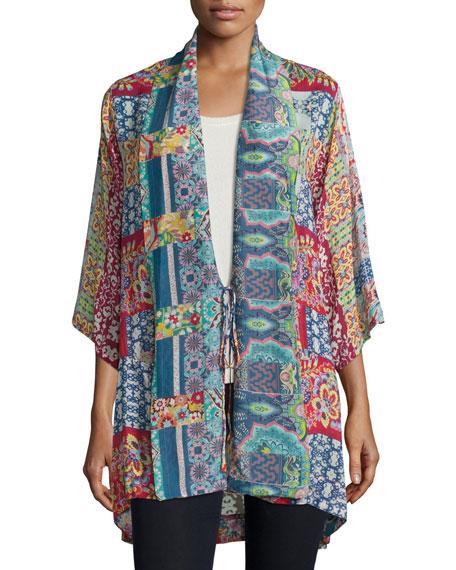 Brock Printed Tie-Front Kimono, Multi, Plus Size