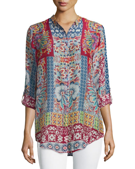 Brock Printed Button-Front Blouse, Red/Multi