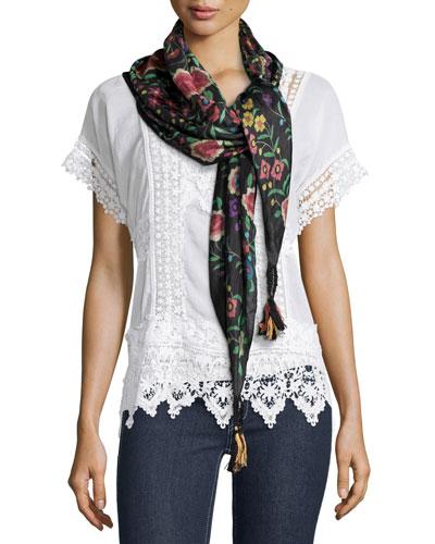 Floral-Print Silk Tassel Scarf, Multi