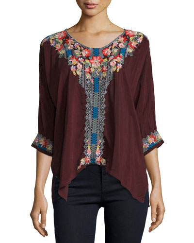Rosa Embroidered Dolman-Sleeve Blouse, Plus Size