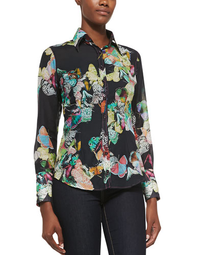 Butterfly-Print Cotton Blouse