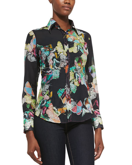 Georg Roth Los Angeles Butterfly-Print Cotton Blouse