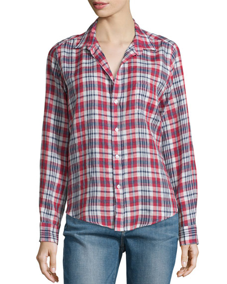 Barry Plaid Linen Long-Sleeve Shirt