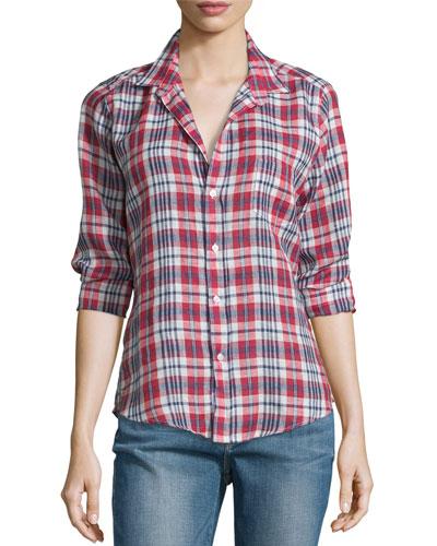 Barry Plaid Linen Long-Sleeve Shirt