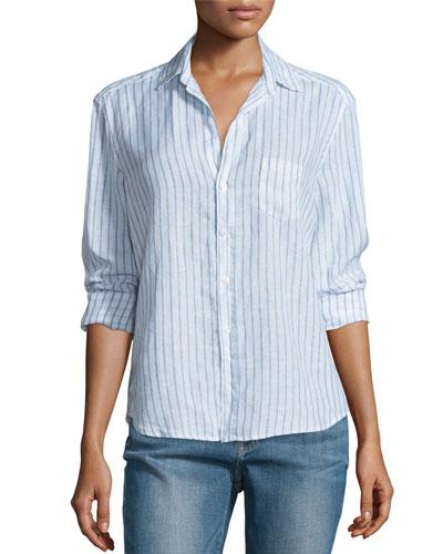 Eileen Striped Linen Long-Sleeve Shirt