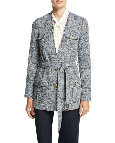 Collarless Tweed Wrap Jacket, New Navy